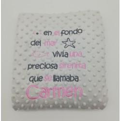 Manta Infantil Personalizada con Cuento y Nombre Mod. Sirenita